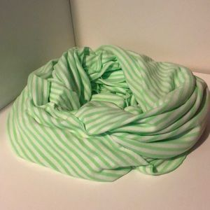 Gap green & white striped infinity scarf